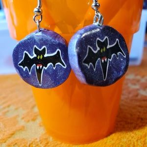 Halloween Earrings Pair of Purple Bats Handmade!